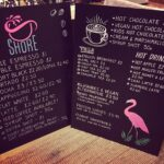 Coffee shop menu, drinks available from Shore Coffee, resident coffee shop at Beach Street Felixstowe