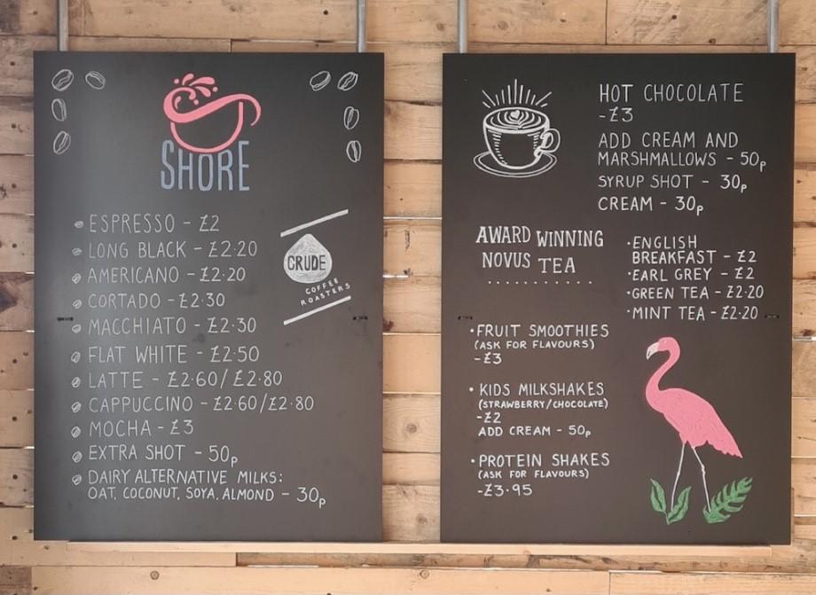 Shore specialty coffee menu