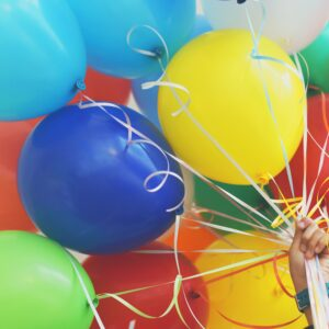 Big bunch of different coloured balloons
