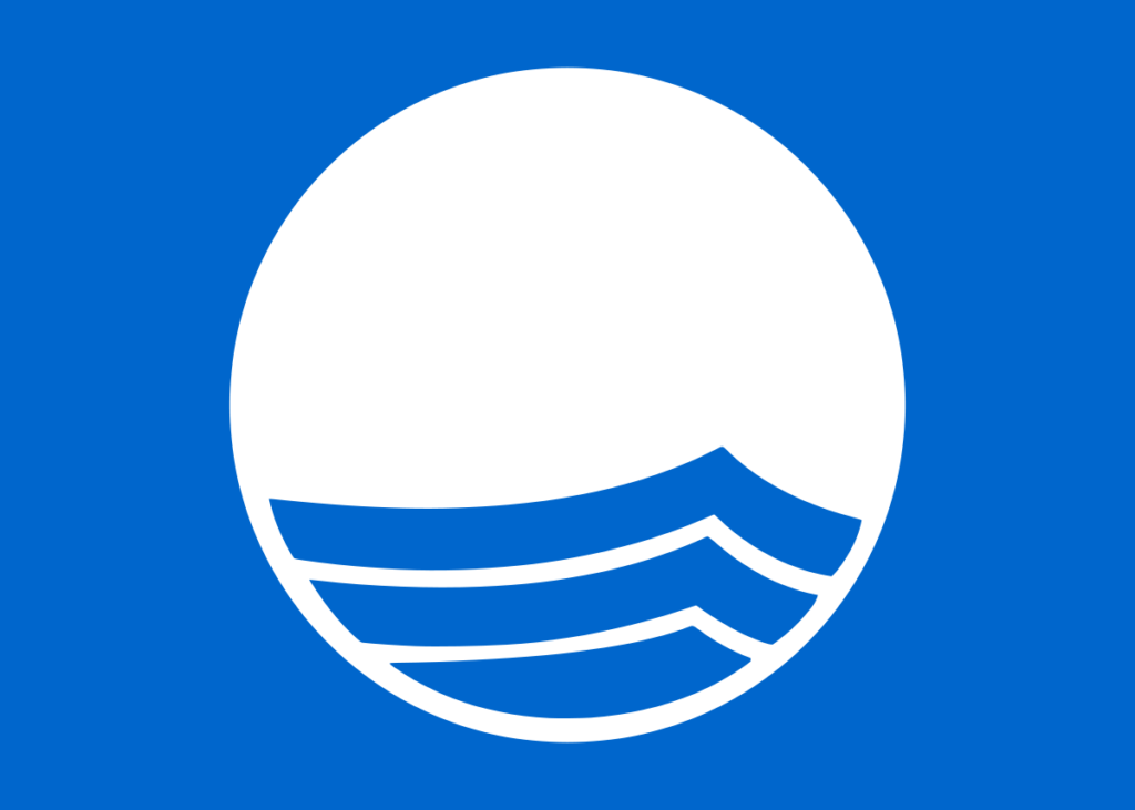 """Felixstowe has recently been awarded a """"blue flag"""" - visitors can now see this logo on Felixstowe Beach"""