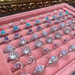 A selection of silver, gemstone rings for sale in Crystal Eclipse at Beach Street Felixstowe